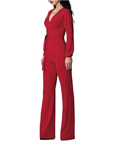 Tuta Elegante Pantaloni Lungo Jumpsuit Vestito Abito Cerimonia da Donna Rosso