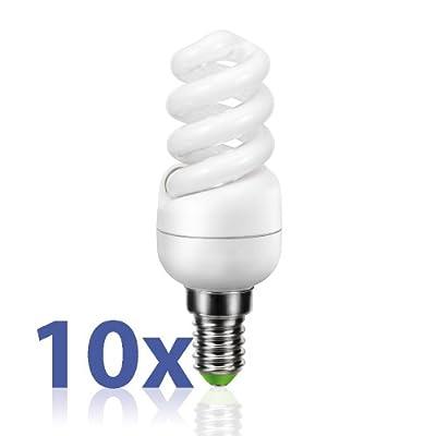 E14 Energiesparlampe Von Parlat Warm-wei 7w Ersetzt 31w Glhlampe 310 Lm 180 230 Volt Ac 10 Stck Packung von LEDs Com GmbH