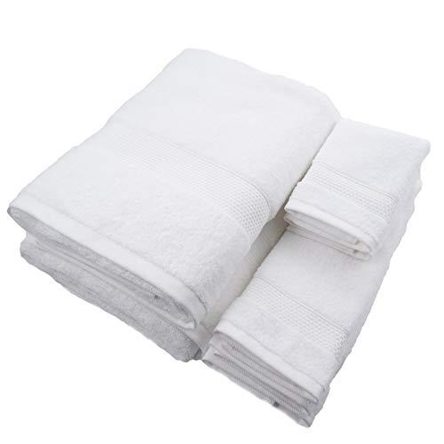 Pur Spa Designer Handtuch Complete Collection 6-teiliges Handtuch-Set, 600 g/m², 2 Badetücher, 2 Handtücher und 2 Waschlappen weiß -