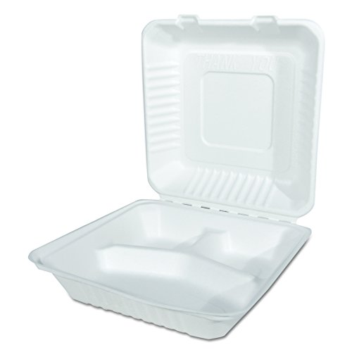 Southern Champion Tablett champware Formteile Fasern weiß 3Klapp-Behälter (mehreren Größen), 9