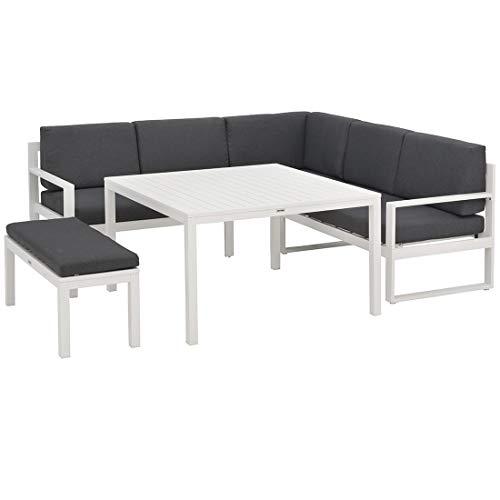 Kettler Ocean Loungemöbel Outdoor Dining-Lounge 4-teilig Weiß/Grau Aluminium/Polyester Gartenlounge Sitzecke Outdoor Lounge Garten Terrasse Balkon
