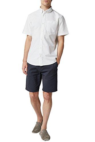 next Herren Kurzaermeliges Oxford-Hemd Regular L Weiss - Mandarin Kragen Ärmellos