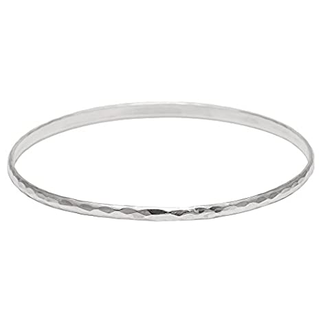 Silverly Women's .925 Sterling Silver 3mm Thin Hammered Stackable Bangle Bracelet