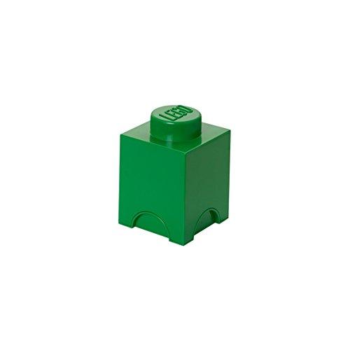 LEGO Aufbewahrungsstein, 1 Noppe, stapelbare Aufbewahrungsbox, 1,2 l, grün (dunkelgrün) (Stapelbar Spielzeug Bins)