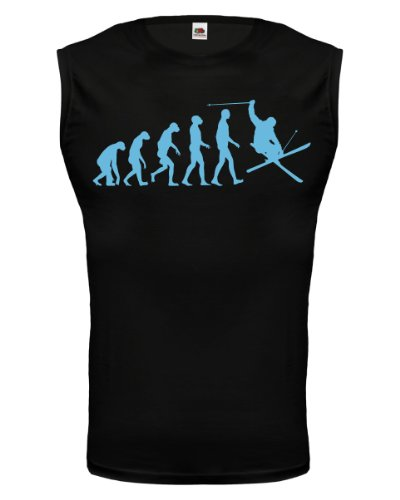 buXsbaum® Tank Top The Evolution of skiing Black-Skyblue