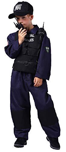 narrenkiste T2113-128 blau-schwarz Kinder Junge SWAT Overall mit Weste,Kappe und Funkgerät (Fbi Kostüm Für Jungen)