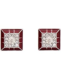 Angelfish Designer Diamond And Red Color Square Shape Cufflink For Man