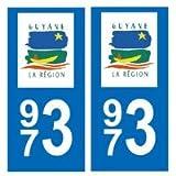 Autocollant plaque immatriculation auto département 973 Guyane