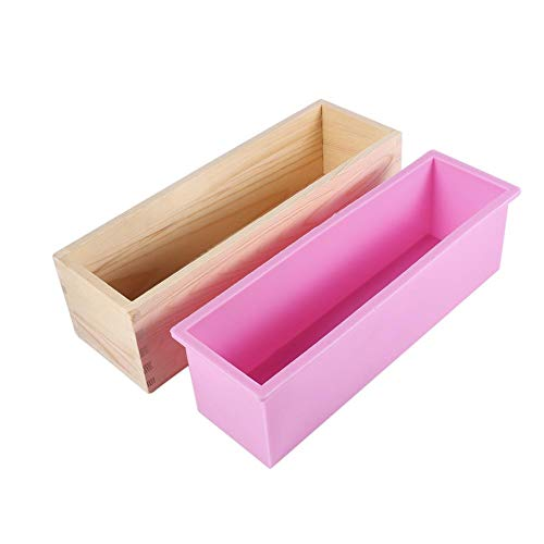 Silikon Liner Seifen Form mit Kasten hölzerner Rechteck Seifen Form DIY das Werkzeug Kerzen Kuchen macht backen Form -