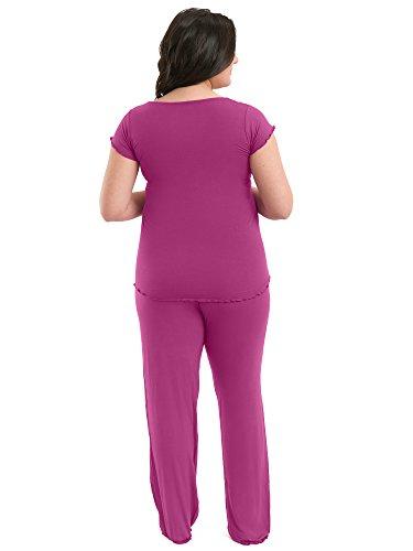 Stillpyjama - Ultra-weicher Schlafanzug fur Schwangerschaft und Stillzeit von KindRot Bravely Beerenfarben