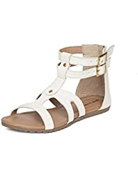 MarcLoire Women Gladiator Ankle Strap Flats, Girls Party Shoes Flats, Open Toe Fashion Sandals with Zip Closure - Synthetic, White