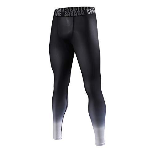 saracacore Männer Jungen Herren Lange 3/4 Unterhose Strumpfhose Unterwäsche Fussball Fahrrad Kompressions Fitness Sports Leggings(schwatzpattern, XL)