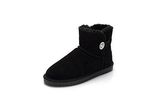 QIN&X Donna calda libero fondo spesso neve stivali scarpe Black
