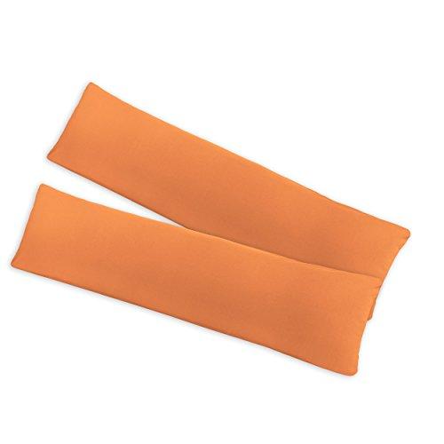 SHC Doppelpack Seitenschläferkissen   Jersey Kissenbezüge   Kissenhülle   Stillkissenbezug mit Reißverschluss aus 100% Baumwolle 145x40cm Nectarine/Mandarine