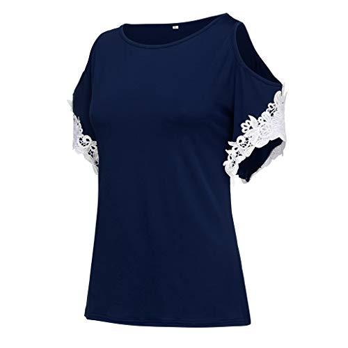 CUTUDE Damen T Shirt, Bluse Kurzarm Sommer Frauen Rundhalsausschnitt Plus Size Volltonfarbe Trägerlose Spitze Kurzarm Bluse Top (Marine, Medium)