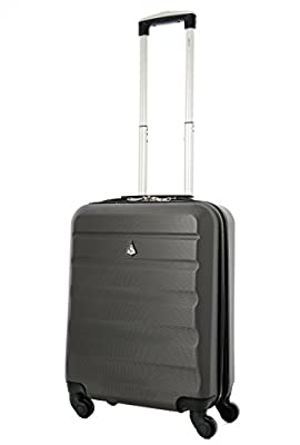 Aerolite 55x40x20 Lightweight Ryanair Maximum Cabin Allowance Hard Shell Hand Luggage Travel Spinner Suitcase with 4 Wheels (21in, 40L, Charcoal)