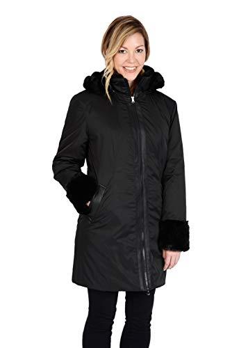 Excelled Leather Damen Tech Poly Walking Coat with Faux Fur Trim Isolierte Jacke, schwarz, Groß Faux Leather Trim Jacket
