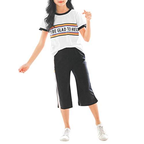 Julhold Teen Kinder Mädchen Mode Lässig Regenbogen Kurze Trainingsanzug Tops Lose Hosen Sport Anzüge Outfits 3-13 Jahre -
