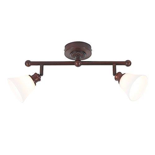 Preisvergleich Produktbild Wand- oder Deckenstrahler - Landhausstil - Dunkelbraun - 2-flammig - Inklusive Halogenleuchtmittel 2 x G9 33 Watt + LED-Taschenlampe