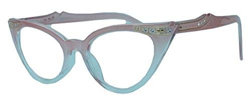 50er Jahre Fashion Brille Cat Eye Modell Klarglas Ombre Nerdbrille Glitzersteine (Candy Rosa) (50er Jahre Pin Up Kostüm)
