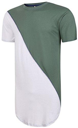 Mens Tee Pizoff contras lunghezza testa unisex camicia lunga basato asymmetic moda di strada hip-hop era Y1293-Verde Bianco-S