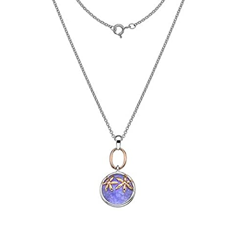 Sterling Silver pend purple agate stone with rose gold plat
