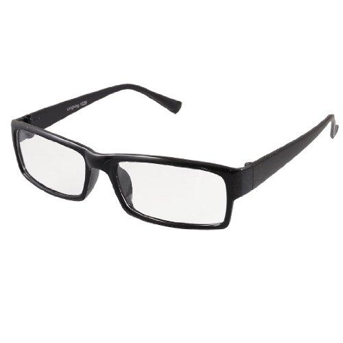 sourcingmap® signore rettangolare nitido lente nero plastica intero telaio piano (Nero Piano Telaio)