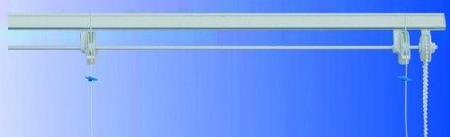 Bastone binario per tenda a pacchetto con calate a sgancio rapido in alluminio l.160 con 5 cadute