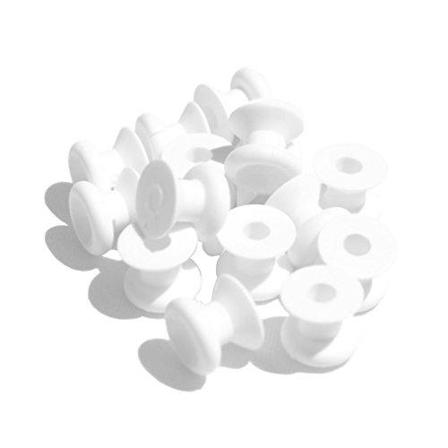 5 Stück Rundknopf Gummiseilhalter Nylon weiß