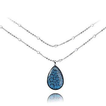 Tropfen Anhänger Marineblau Halskette Modische Geschenke