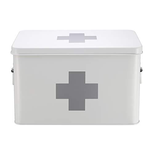 Mari Home Medizinkasten aus Zinn, zweilagig, mit 5 Unterteilungen, Weiß, ohne Erste-Hilfe-Zubehör - 31,5 x 19 x 20 cm