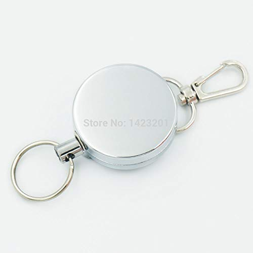 CUSHY 2 PC/Los 40mm Reel Retractable Keyring Kettenzug Schlüssel-ID Badge + Swivel Clips Stil B für Metall Rope Lanyard Karabiner-Clip