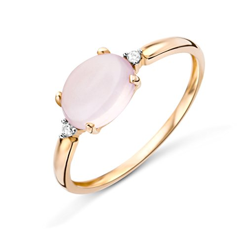 Miore Ring Damen Rosé 9 Karat / 375 Gold   Roser Quarz mit  Diamant Brillianten
