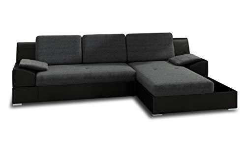 Ecksofa Aldo mit Glasregal, Couchgarnitur mit Bettfunktion und Bettkasten, Sofagarnitur, Couch mit Schlaffunktion, Big Sofa (Schwarz + Graphit (Soft 011 + Inari 94), Ecksofa Rechts) (Sofa Big)
