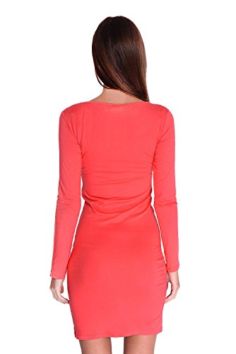 Minikleid Top Mini-Kleid Kleid Top zweifarbig Gr. 36 38 S M, 8134 Koralle