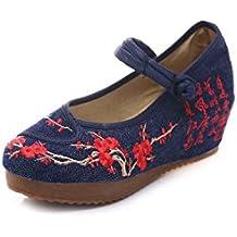 Lazutom - Zapatos de tipo informal para mujer, vintage, diseño bordado de pintura a