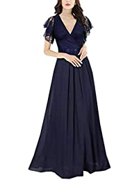 ee0d796da1 LUBITY Robe de Soirée Vintage Col V Dentelle Longue Robe Femme Longue sans  Manches Taille Élastique