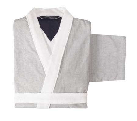 Tommy hilfiger accappatoio kimono con cappuccio tg s m l xl xxl 100% spugna puro cotone uomo donna chambray (grey, l - 48/50)