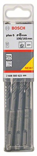 BOSCH 2 608 585 623  - BROCAS PARA MARTILLOS PERFORADORES SDS-PLUS-5 - 8 X 100 X 165 MM (PACK DE 10)