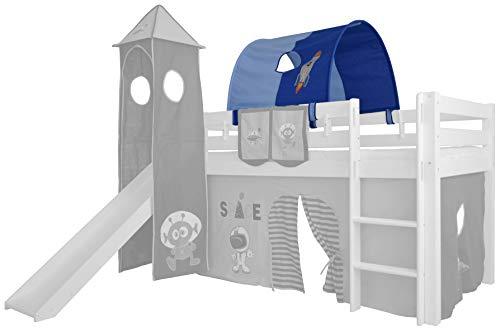 XXL Discount Tunnel für Kinderbett 100{1f0ae441fbfd0b5587ccd0af0c0e4ca092ce59e9add4f033d006821ec384b09a} Baumwolle Baldachin Dach Bettdach Himmel für Hochbett Spielbett Etagenbett Kinderbett (Hell Blau/Dunkel Blau, Weltraum, Weiße Holzhalter)