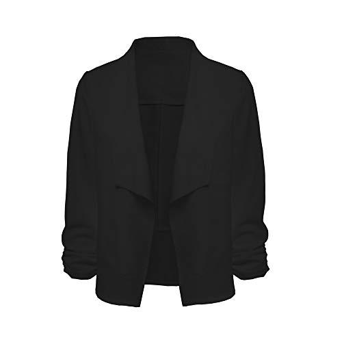 Golf Lambswool (LEXUPE Frauen 3/4 Ärmel Blazer vorne offen Kurze Strickjacke Anzug Jacke Arbeit Büro Mantel(Schwarz,Large))