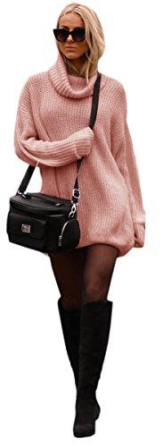 Damen Strickpullover Sweater Rollkragen Pullover Jumper Strick Pulli Oversize (648) (Puderrosa)