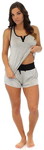 Pajama Heaven Débardeur avec bretelles croisées et shorts femme Gris