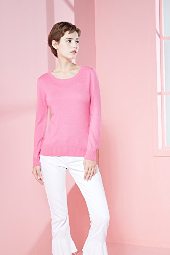 LongMing Damen 100% Kaschmir Pullover for Winter Warm Lange Ärmel Slim Swaeter Rose