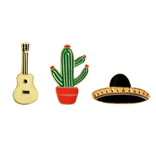 Amosfun 12 stücke Mexiko Brosche Breastpin Kaktus Gitarre Hut Metall Brosche Pins Taste Pins Jeans Tasche Dekoration Geschenk Fiesta Party Supplies