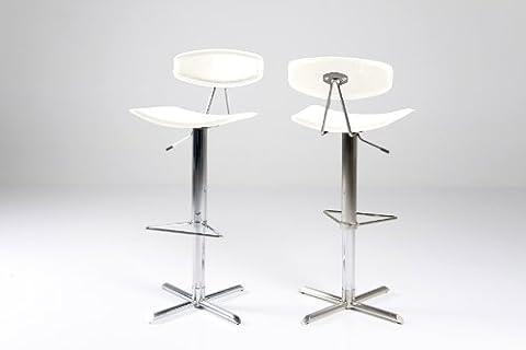 2x Tabourets de bar Blaze réglable en cuir blanc avec une base Chrome et repose-pieds