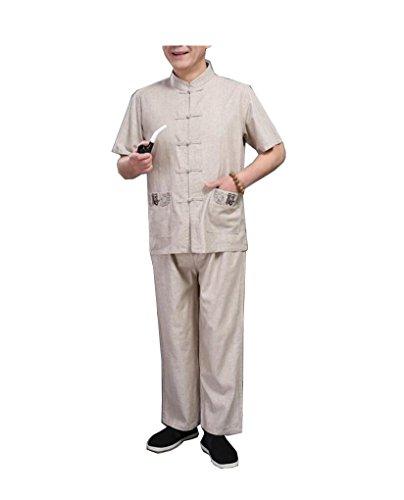 CHLXI Ju Shi Tai Chi Kleidung nationalen mittleren Alters Leinen Tang Anzug Herren Kurzarm-Anzug chinesischen Stil Sommer grobe Leinen Stickerei - Chinesische Bekleidung