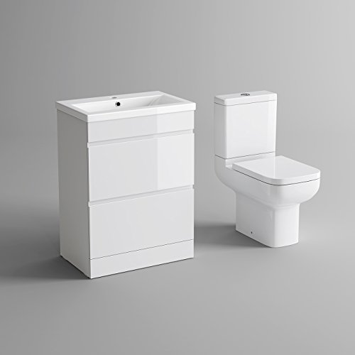 White Gloss Vanity Sink Unit Bathroom Drawers Furniture Short Projection To