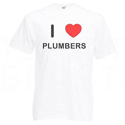I Love Plumbers - T-Shirt Weiß