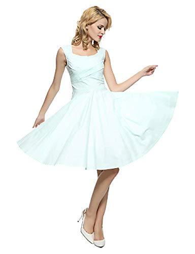Kleid Kleider Frauen S Plus Size Party Vintage A Line Kleid Einfarbig Square Neck Baumwolle Khaki Royal Blue Lavender XL XXL XXXL @ Light_Blue_S Chiffon Square Neck